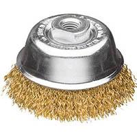【CAINZ DASH】LESSMANN 工業用カップブラシ Φ75 真鍮メッキ 線径0.25