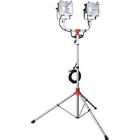 【CAINZ DASH】ハタヤ 防雨型スタンド付ハロゲンライト 300W×2灯 100V接地付電線5m