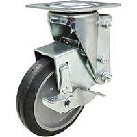 【CAINZ DASH】ユーエイ クッションキャスター 125径 自在車 ストッパー付 ゴム車輪