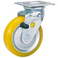 【CAINZ DASH】シシク 静電気帯電防止キャスター 自在ストッパー付 100径 ウレタン車輪