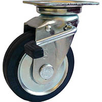 【CAINZ DASH】シシク スタンダードプレスキャスター ゴム車輪 自在ストッパー付 75径